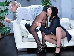 Cute office girl gets new tights after a hot lez quickie with a co-worker