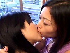 Hot Japanese lesbian kiss.