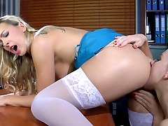 Strapon-armed office babe tricks her female co-worker into lesbian anal sex
