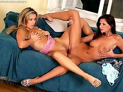 A pair of long legged lesbians fuck