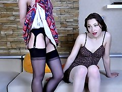 Hot-assed chick wears showy black FF nylons for kissy-licky lesbian action
