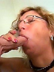 GILF enjoying a mouthful of rock hard cock