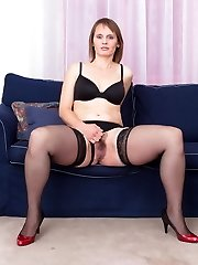 Naughty hairy housewife playing with herself