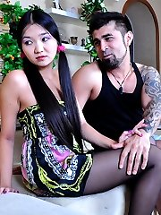 Ponytailed Asian prankster gets dicked thru seamed sheer-to-waist pantyhose