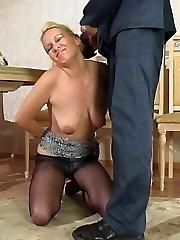 Smashing blondie in barely black pantyhose getting new fucking sensation