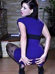 Slim-legged teaser gets naughty changing into electric blue patterned hose