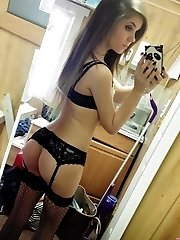 Hot ass sexy babe displays body in lingerie