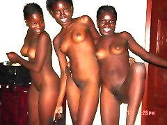 Wild black bitches show breasts and pussies