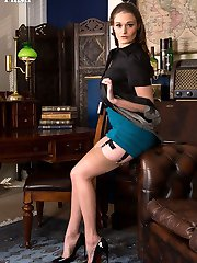 Honour loves dressing up in sexy lingerie like this American high waist girdle and sheer 50s...