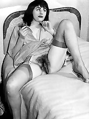 Brit babes from the hay day of lovely legs in nylons and sexy bush!