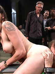 Alexxa loves puppy play.  She likes being treated like a pet, doing tricks and being obedient. However this is her first boy/girl scene and getting pounded by huge cocks is a new experience for her chubby little puppy pussy. The crowd enjoys playing with her and all of her new puppy toys.  Beautiful Princess Donna leads her around with a leash and a muzzle makes her lick feet and asses and gives us a sexy treat at the ending. Eat is from a bowl bitch!!!!