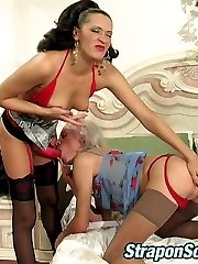 Voluptuous lesbian babes taking out beloved strap-on for dirty games in bed