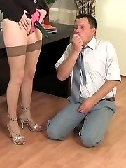 Nasty secretary with strap-on having freaky fun right during lunch break