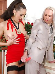 Smashing chick meeting her lover with strap-on aching to work his ass hard