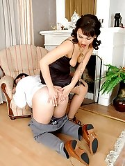 Sexy gal in sheer stockings giving guy�s ass good workout with her strap-on