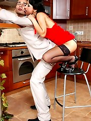 Horny guy getting under hot strap-on assault of strikingly beautiful chick