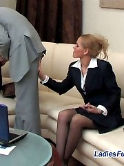Stunningly looking chick showing her stiff surprise under business skirt