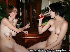 Two DRUNKEN Naked bi TEENS at the BAR