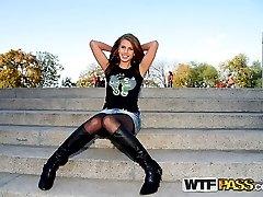 Nasty slut gets wild in public and shows her cunt - publicsexadventures.com