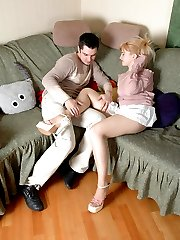 Blondie in open toe sandals getting banged after muffdiving through nylon