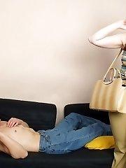 Lewd gal in tan pantyhose giving footjob as a reward for tender toe-massage