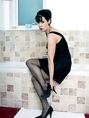 Tanya in the bath in black slip, sheer panties and RHT nylons!