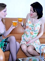 Romantic evening ends up with a lez workout for hot lesbians in soft tights