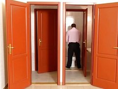 Business suit hallway jack off
