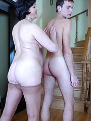 Freaky mommy savors muff-diving thru her pantyhose before pulling them down