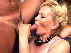 Horny older blonde gives off blowjobs to warm up three dicks and gets nasty gang banging