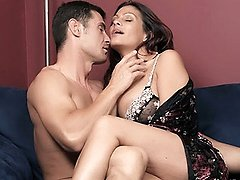 Pretty MILF Ava unleashes her set of huge titties then fucked deep and on the couch