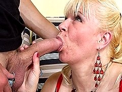 Mature slut fucking and sucking a younger dude