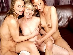 Three mature lesbians have a party on their own
