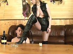 Two mistresses destroying sex slave