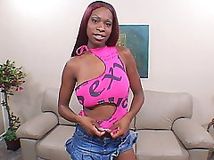 Sexy sista gets her pussy slammed by a huge black cock on the couch