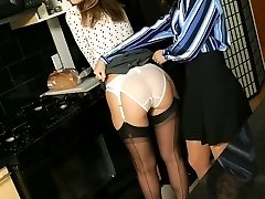 Minnie and Mary kitchen striptease
