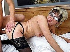 Naughty mature slut fucking and sucking her ass off