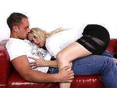 Horny German housewife playing with her tpyboy