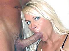 Horny blonde Leggy Lana gets her mouth and lips round this big juicy cock with a lovely bit of...
