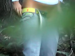 Girl caught on tape during outdoor peeing