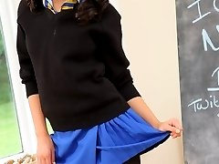 Nickie Ann the college girl in black opaque pantyhose