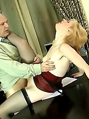 Nasty young secretary climbing her graying bosss desk for a hardcore fuck