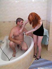 Naughty teen with old man in bathroom