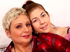 Hot old and young lesbian couple playing around