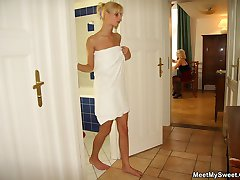 Her boyfriend039s mom gets naked with her after a shower and they use toys together