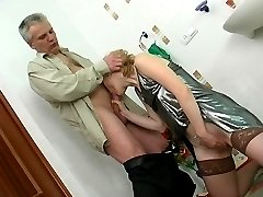 Older male prefers morning sex with innocent looking girlie in the bathroom
