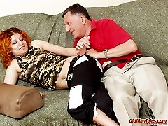 Old dad eats young redhead\'s pierced pussy