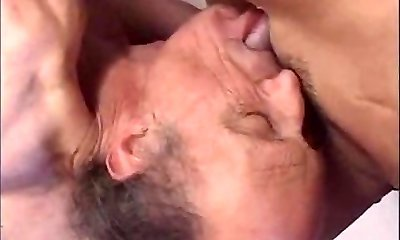 Horny blond chick masturbating with wet panty