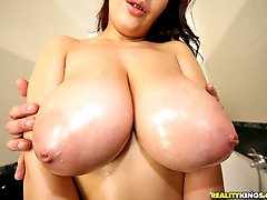 Amazing tight ass big tits lana evans nailed hard against the bathroom shower and cum faced...