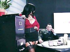 Big-tit lingerie clad assistant Kiara Mia fucks her boss at work